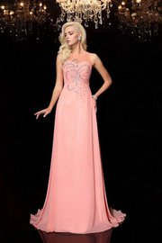 Beading Sleeveless Zipper Up Empire Waist Evening Dress