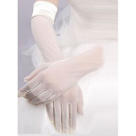 Modest Tulle White Bridal Gloves