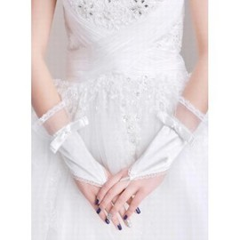 Satin Lace Hem White Elegant | Modest Bridal Gloves