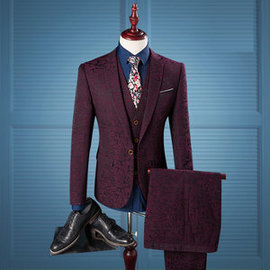 Fashion Tuxedo Red Wine To Print Blazer Suits Slim Fit Men Suit