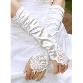 Taffeta Beading White Modern Bridal Gloves