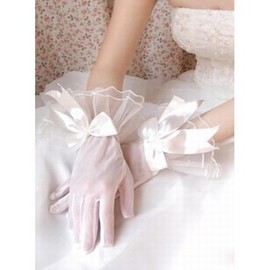 Organza With Bowknot Ivory Elegant | Modest Bridal Gloves