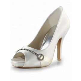 Fine With High With Satin Bridal Fish Head Shoe