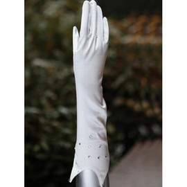 Taffeta With Crystal White Chic | Modern Bridal Gloves