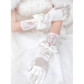 Satin With Bowknot White Elegant | Modest Bridal Gloves