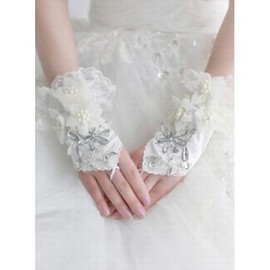 Satin Beading Ivory Luxurious Bridal Gloves
