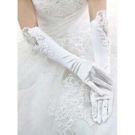 Satin With Application White Elegant | Modest Bridal Gloves