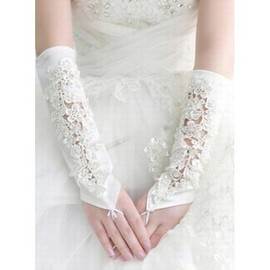 Satin With Application Ivory Elegant | Modest Bridal Gloves