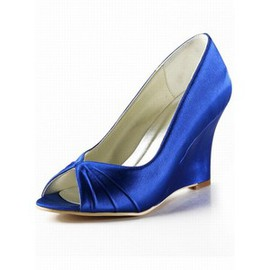 High-heeled Satin Fish Head Slope With Bridal Shoe