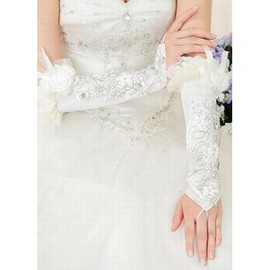 Satin 3D Flower White Chic | Modern Bridal Gloves