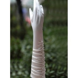 Chic Taffeta Beading White Bridal Gloves