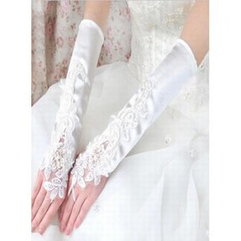 Satin With Application White Elegant Bridal Gloves