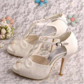 Actual Heel Height 3.94 Inch Formal Platform Heels Bridal Shoe