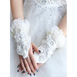 Satin With Crystal Modern Bridal Gloves