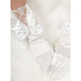 Satin With Crystal White Elegant | Modest Bridal Gloves