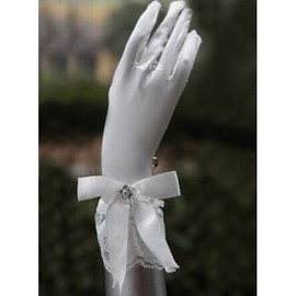 Route | Silk Satin With Bowknot White Elegant | Modest Bridal Gloves