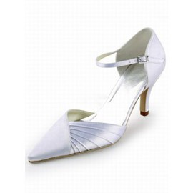 High Heels With Pointed Satin Bridal Shoe With Fine