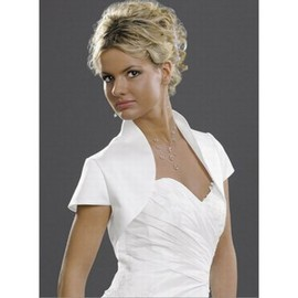 Taffeta White Simple Modest Bolero