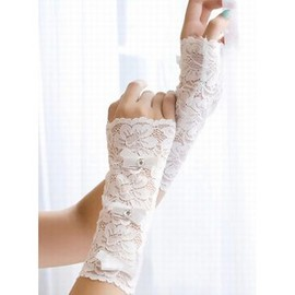 With Tip Application White Elegant | Modest Bridal Gloves