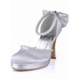 High With Satin Fine With Round Bridal Shoe