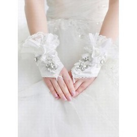 Lace With Crystal White Luxurious Bridal Gloves
