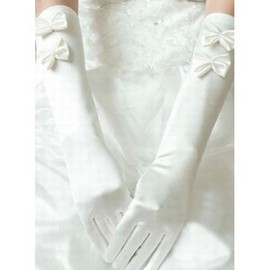 Satin With Bowknot Ivory Elegant | Modest Bridal Gloves
