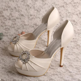 Platform Drama Actual Heel Height 5.12 Inch Heels Bridal Shoe