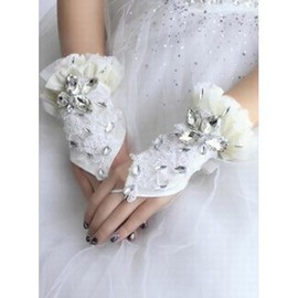 Luxurious Lace With Crystal White Bridal Gloves