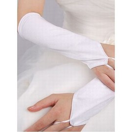Simple Taffeta White Vintage Bridal Gloves