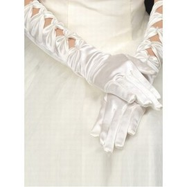 Beaded Taffeta Embroidery Elegant White Bridal Gloves