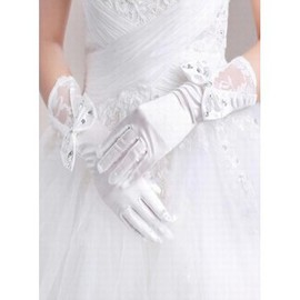 Satin With Bowknot White Chic Bridal Gloves