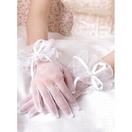 Organza With Bowknot White Chic | Modern Bridal Gloves