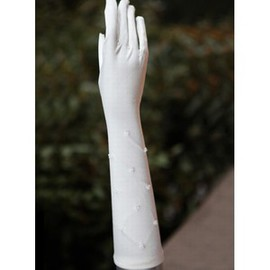 Line Beading White Vintage Bridal Gloves