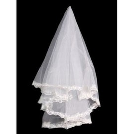 Beautiful Lace Hem Short Wedding Veil
