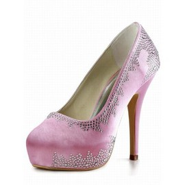 Round Fine With High With Satin Bridal Shoe