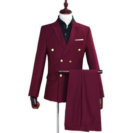 Red Wine Blazer Man Long Sleeve Men Double Breasted Suits Casual Suit