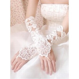 Satin Lace Hem Ivory Elegant | Modest Bridal Gloves