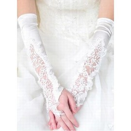 Satin With Application White Chic | Modern Bridal Gloves