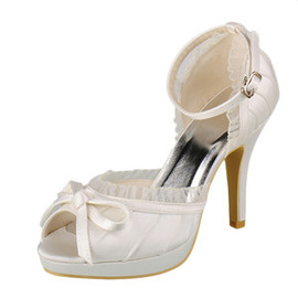 Actual Heel Height 3.94 Inch Drama Platform Heels Bridal Shoe