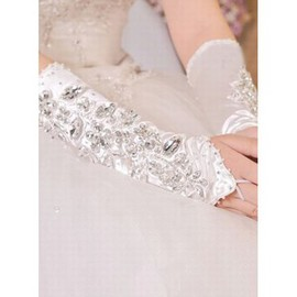 Satin With Crystal Luxurious White Bridal Gloves