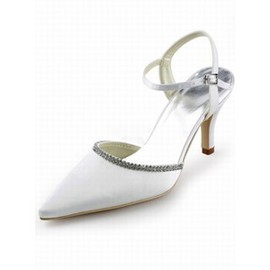 High-heeled Satin Bridal Shoe With Pointed Fine