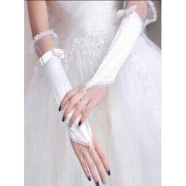 Satin Lace Hem White Chic | Modern Bridal Gloves