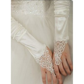Luxurious Taffeta With Crystal White Bridal Gloves