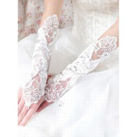 Satin White With Application Modest Bridal Gloves