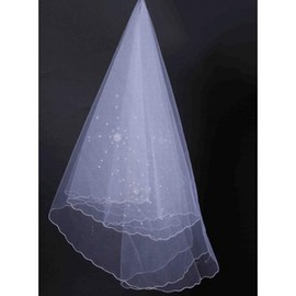 Luxurious Beading Short Bridal Veils