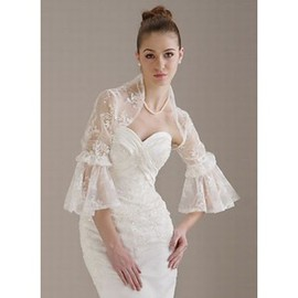 Luxurious Organza White Floral Bolero