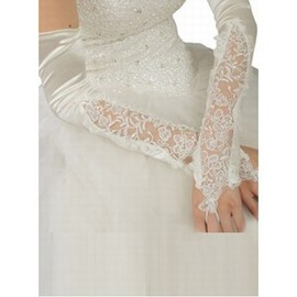 Taffeta Beading White Elegant | Modest Bridal Gloves