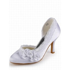 High-heeled Round Fine With Satin Bridal Shoe