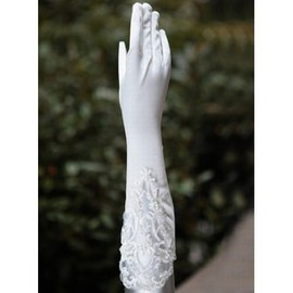 Taffeta Beading White Timeless Bridal Gloves