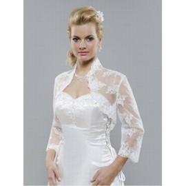 Organza White Luxurious Lace Hem Bolero